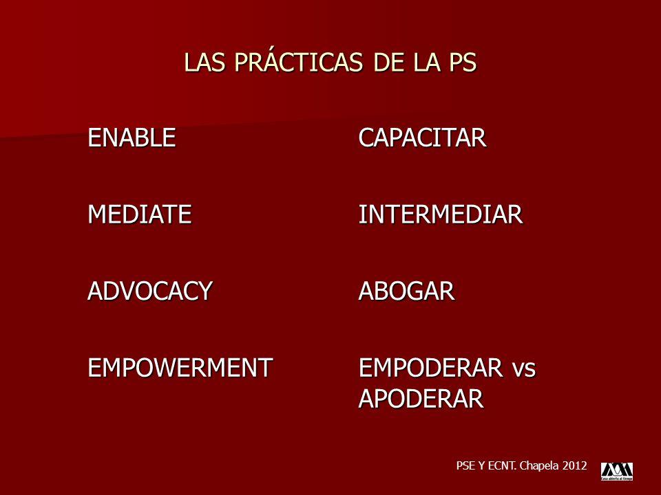 LAS PRÁCTICAS DE LA PS PSE Y ECNT. Chapela 2012ENABLECAPACITARMEDIATEINTERMEDIAR ADVOCACYABOGAR EMPOWERMENT EMPODERAR vs APODERAR