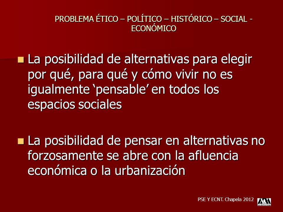 La posibilidad de alternativas para elegir por qué, para qué y cómo vivir no es igualmente pensable en todos los espacios sociales La posibilidad de a