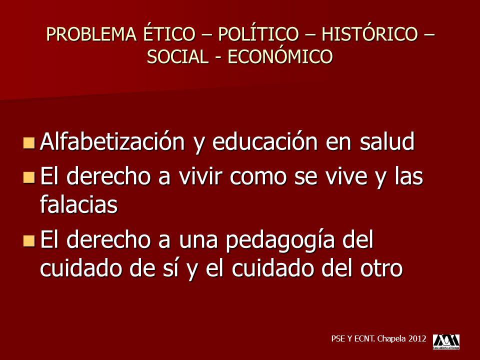 PROBLEMA ÉTICO – POLÍTICO – HISTÓRICO – SOCIAL - ECONÓMICO Alfabetización y educación en salud Alfabetización y educación en salud El derecho a vivir