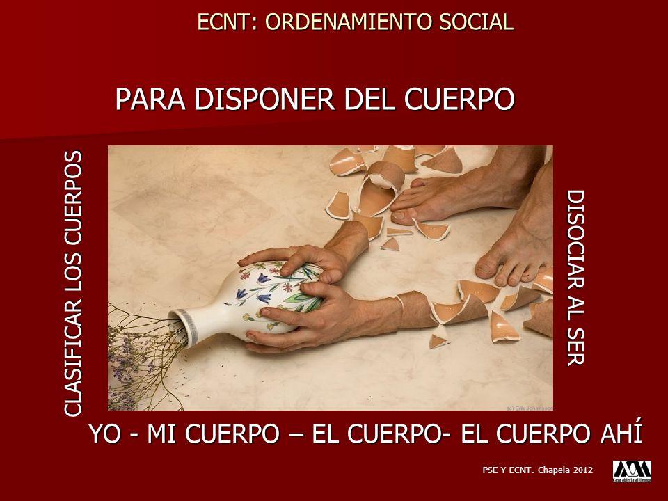 PARA DISPONER DEL CUERPO YO - MI CUERPO – EL CUERPO- EL CUERPO AHÍ CLASIFICAR LOS CUERPOS DISOCIAR AL SER PSE Y ECNT. Chapela 2012