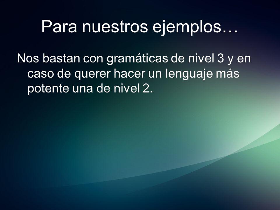 Para nuestros ejemplos… Nos bastan con gramáticas de nivel 3 y en caso de querer hacer un lenguaje más potente una de nivel 2.