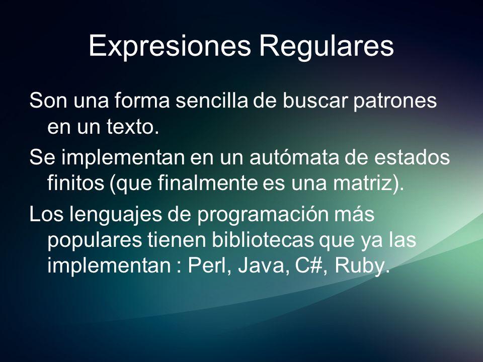 Expresiones Regulares Son una forma sencilla de buscar patrones en un texto. Se implementan en un autómata de estados finitos (que finalmente es una m