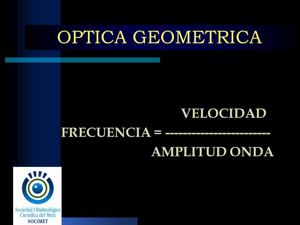 OPTICA GEOMETRICA VELOCIDAD FRECUENCIA = ------------------------ AMPLITUD ONDA