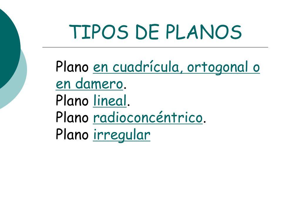 TIPOS DE PLANOS Plano en cuadrícula, ortogonal o en damero. Plano lineal. Plano radioconcéntrico. Plano irregularen cuadrícula, ortogonal o en damerol