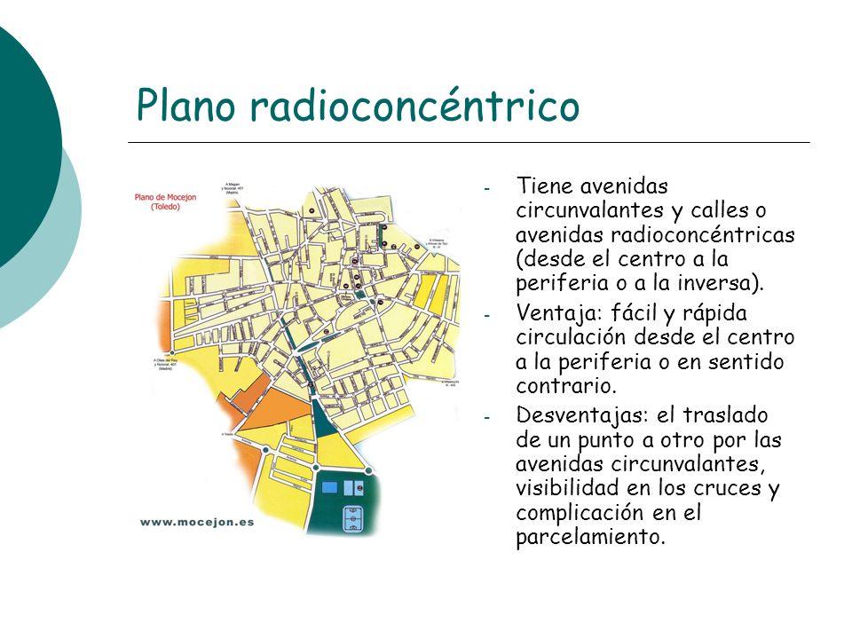 Plano radioconcéntrico - Tiene avenidas circunvalantes y calles o avenidas radioconcéntricas (desde el centro a la periferia o a la inversa). - Ventaj