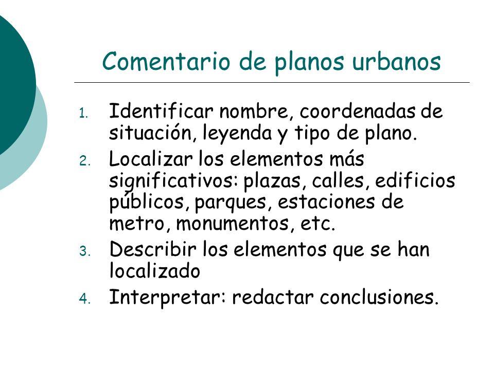 Comentario de planos urbanos 1. Identificar nombre, coordenadas de situación, leyenda y tipo de plano. 2. Localizar los elementos más significativos: