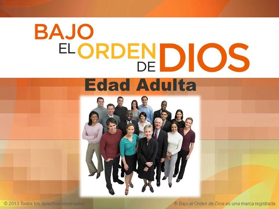 © 2013 Todos los derechos reservados ® Bajo el Orden de Dios es una marca registrada Edad Adulta