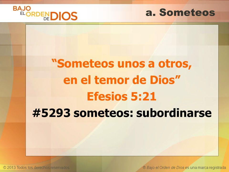 © 2013 Todos los derechos reservados ® Bajo el Orden de Dios es una marca registrada a. Someteos Someteos unos a otros, en el temor de Dios Efesios 5: