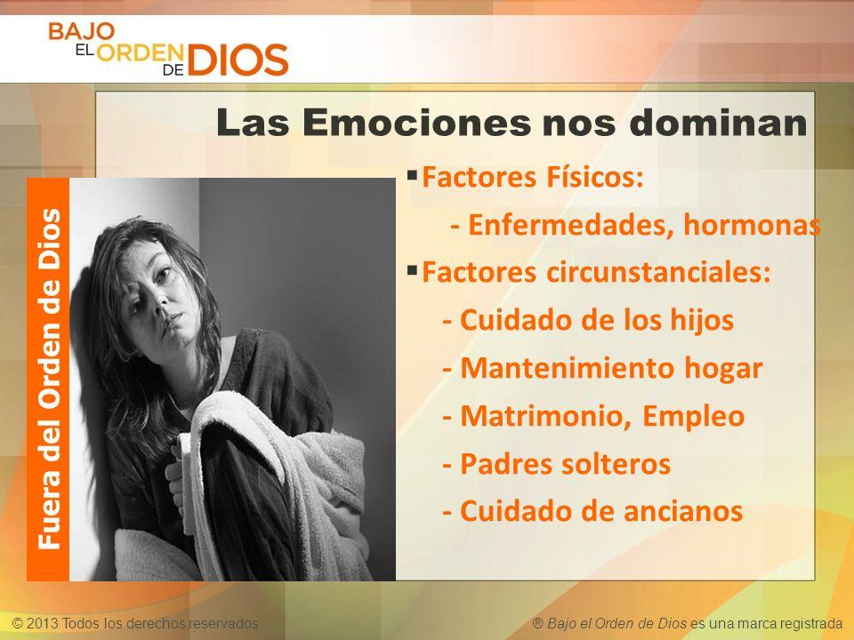 © 2013 Todos los derechos reservados ® Bajo el Orden de Dios es una marca registrada Las Emociones nos dominan Factores Físicos: - Enfermedades, hormo