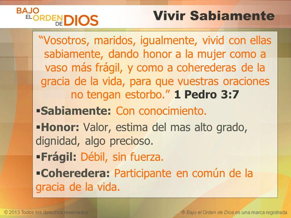 © 2013 Todos los derechos reservados ® Bajo el Orden de Dios es una marca registrada Vivir Sabiamente Vosotros, maridos, igualmente, vivid con ellas s