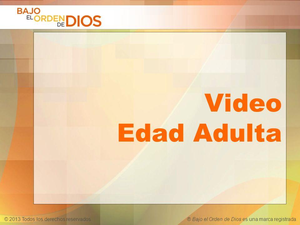 © 2013 Todos los derechos reservados ® Bajo el Orden de Dios es una marca registrada Video Edad Adulta