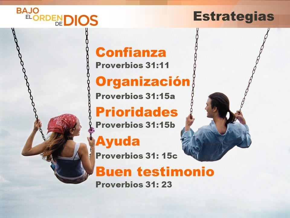 © 2013 Todos los derechos reservados ® Bajo el Orden de Dios es una marca registrada Estrategias Confianza Proverbios 31:11 Organización Proverbios 31