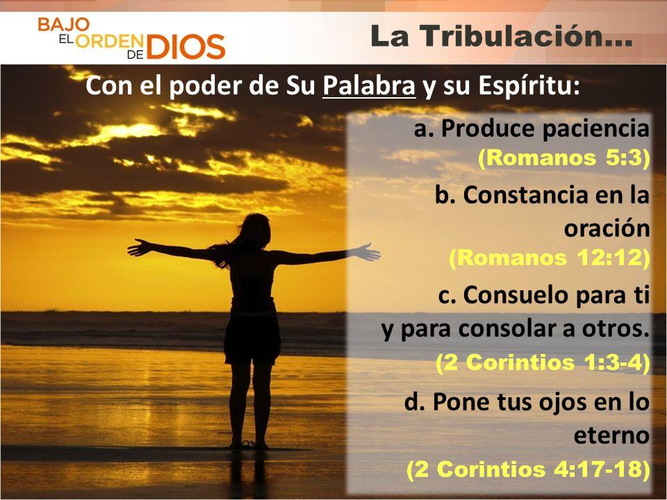© 2013 Todos los derechos reservados ® Bajo el Orden de Dios es una marca registrada La Tribulación… Con el poder de Su Palabra y su Espíritu: a. Prod