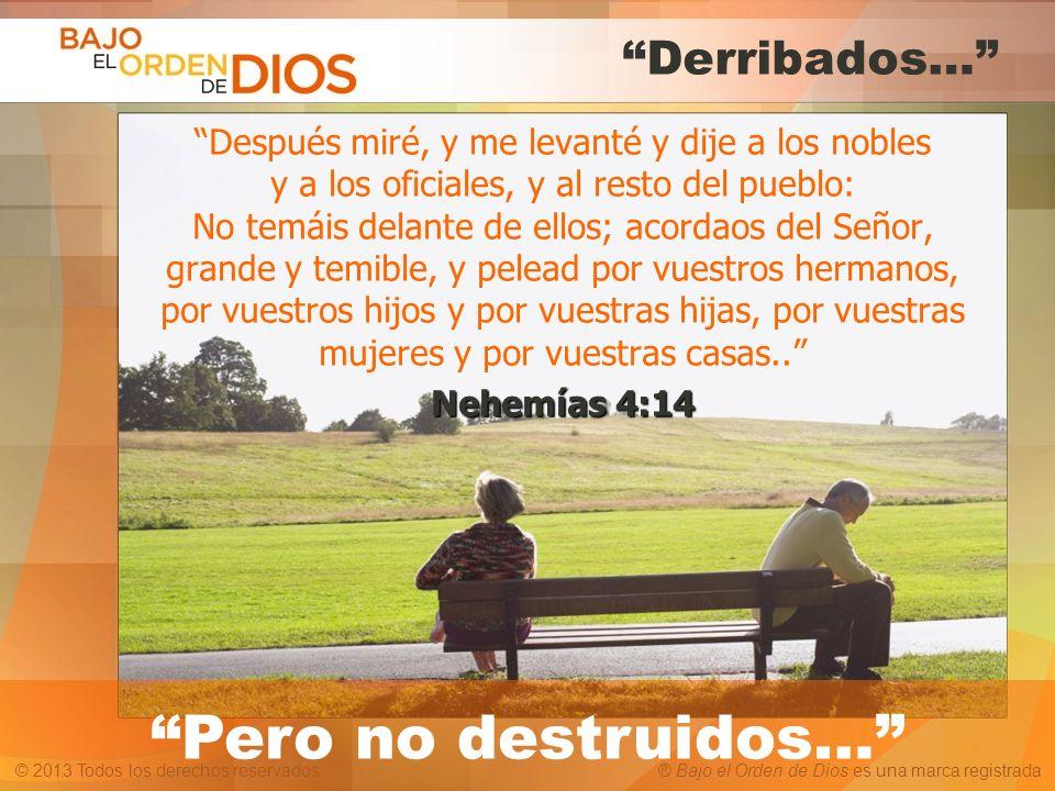 © 2013 Todos los derechos reservados ® Bajo el Orden de Dios es una marca registrada Derribados… Después miré, y me levanté y dije a los nobles y a lo