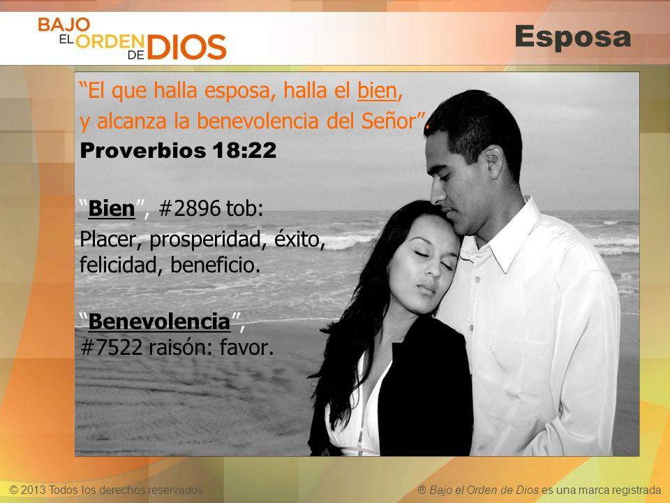 © 2013 Todos los derechos reservados ® Bajo el Orden de Dios es una marca registrada Esposa El que halla esposa, halla el bien, y alcanza la benevolen