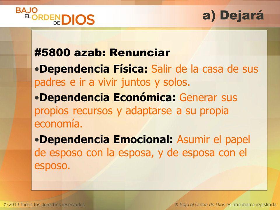 © 2013 Todos los derechos reservados ® Bajo el Orden de Dios es una marca registrada a) Dejará #5800 azab: Renunciar Dependencia Física: Salir de la c