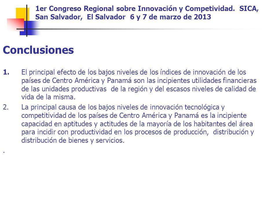Conclusiones 1.El principal efecto de los bajos niveles de los índices de innovación de los países de Centro América y Panamá son las incipientes utilidades financieras de las unidades productivas de la región y del escasos niveles de calidad de vida de la misma.