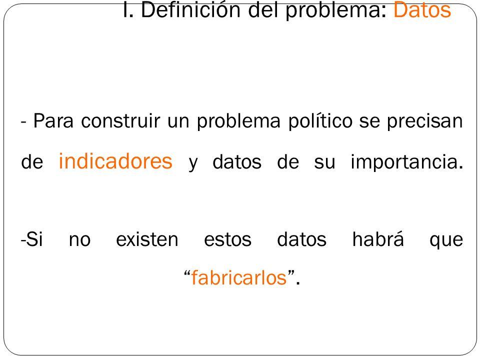 I. Definición del problema: Datos - Para construir un problema político se precisan de indicadores y datos de su importancia. -Si no existen estos dat