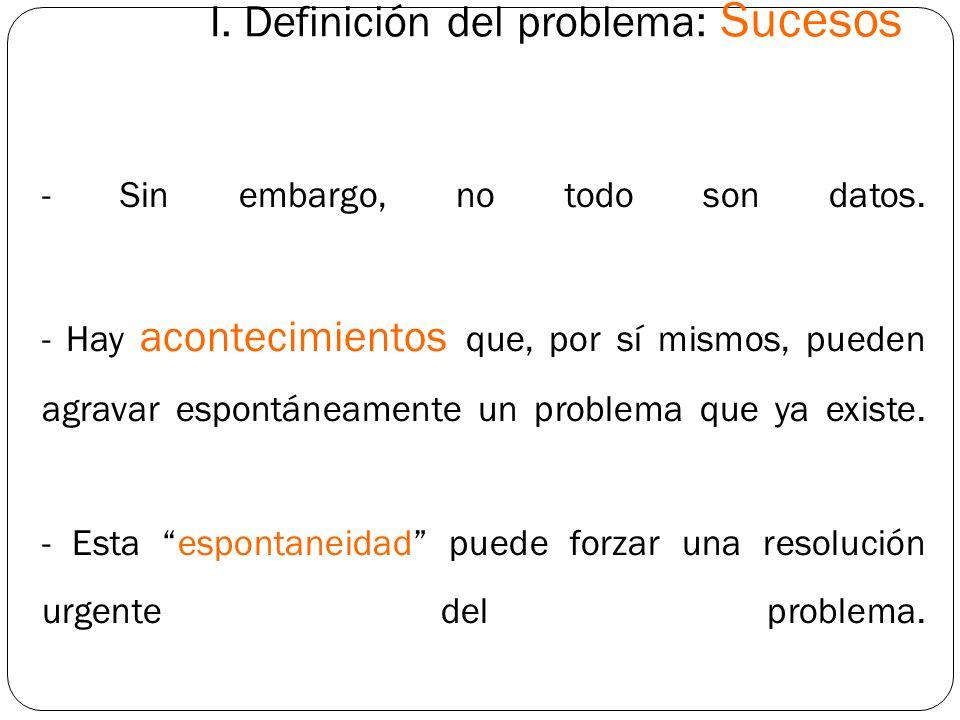 I. Definición del problema: Sucesos - Sin embargo, no todo son datos. - Hay acontecimientos que, por sí mismos, pueden agravar espontáneamente un prob