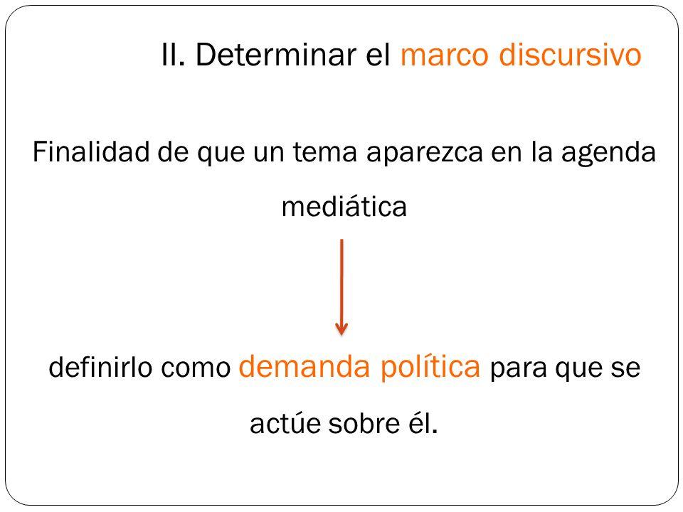 II. Determinar el marco discursivo Finalidad de que un tema aparezca en la agenda mediática definirlo como demanda política para que se actúe sobre él