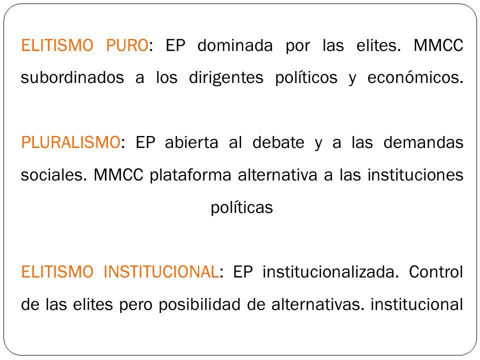 ELITISMO PURO: EP dominada por las elites. MMCC subordinados a los dirigentes políticos y económicos. PLURALISMO: EP abierta al debate y a las demanda