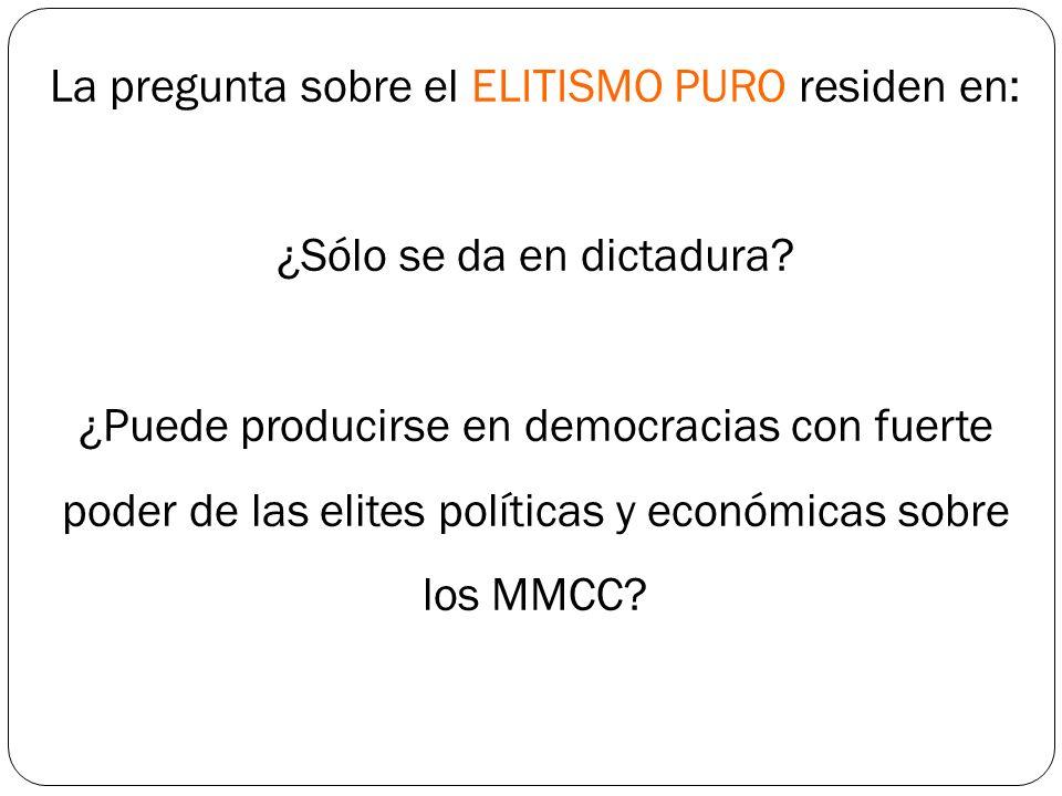 La pregunta sobre el ELITISMO PURO residen en: ¿Sólo se da en dictadura? ¿Puede producirse en democracias con fuerte poder de las elites políticas y e