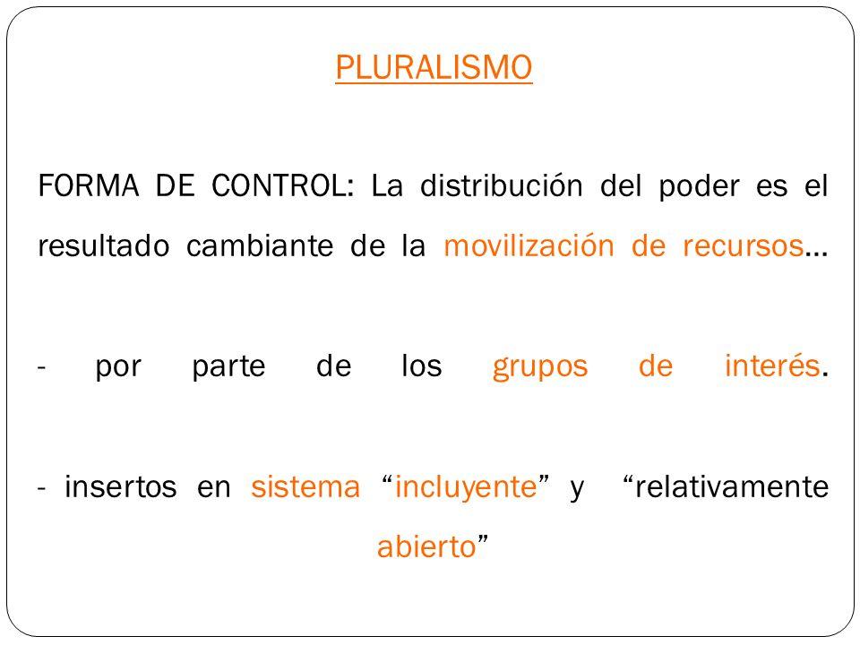 PLURALISMO FORMA DE CONTROL: La distribución del poder es el resultado cambiante de la movilización de recursos… - por parte de los grupos de interés.