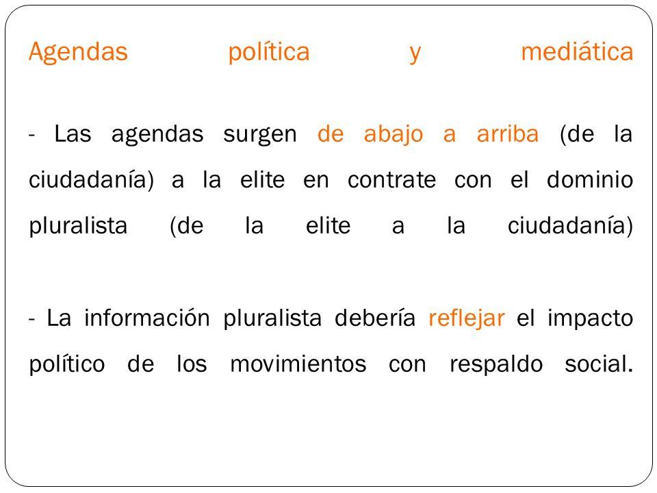 Agendas política y mediática - Las agendas surgen de abajo a arriba (de la ciudadanía) a la elite en contrate con el dominio pluralista (de la elite a