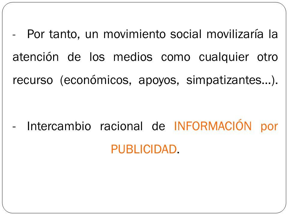 - Por tanto, un movimiento social movilizaría la atención de los medios como cualquier otro recurso (económicos, apoyos, simpatizantes…). - Intercambi