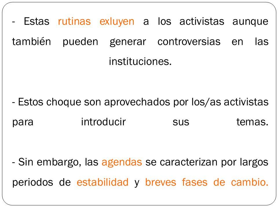 - Estas rutinas exluyen a los activistas aunque también pueden generar controversias en las instituciones. - Estos choque son aprovechados por los/as