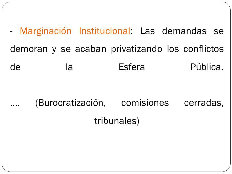 - Marginación Institucional: Las demandas se demoran y se acaban privatizando los conflictos de la Esfera Pública. …. (Burocratización, comisiones cer