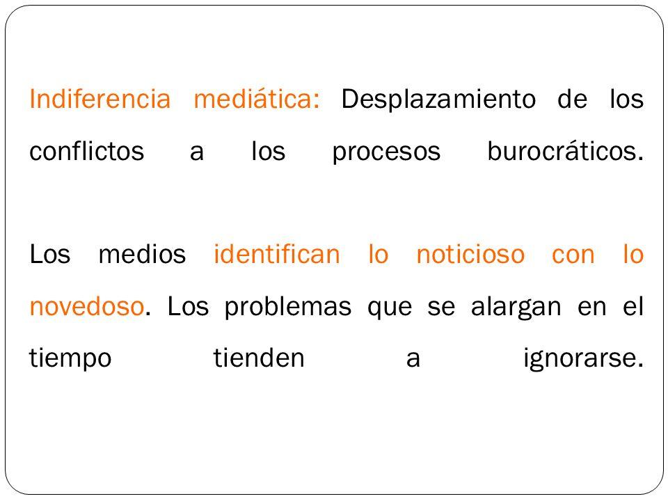 Indiferencia mediática: Desplazamiento de los conflictos a los procesos burocráticos. Los medios identifican lo noticioso con lo novedoso. Los problem