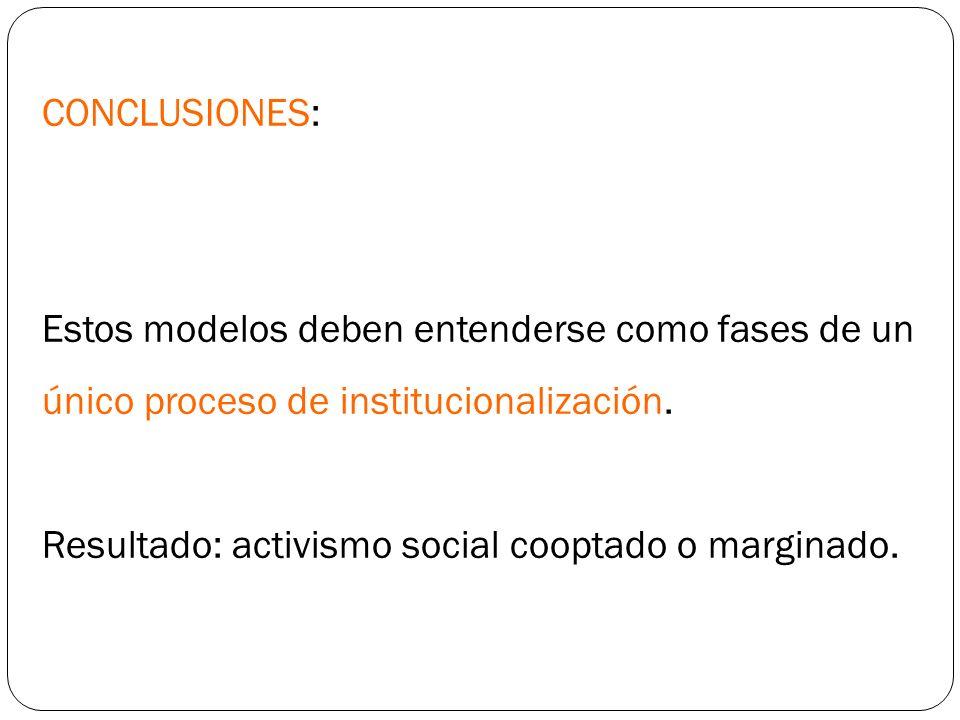 CONCLUSIONES: Estos modelos deben entenderse como fases de un único proceso de institucionalización. Resultado: activismo social cooptado o marginado.