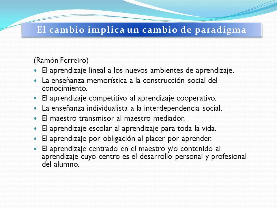 (Ramón Ferreiro) El aprendizaje lineal a los nuevos ambientes de aprendizaje. La enseñanza memorística a la construcción social del conocimiento. El a