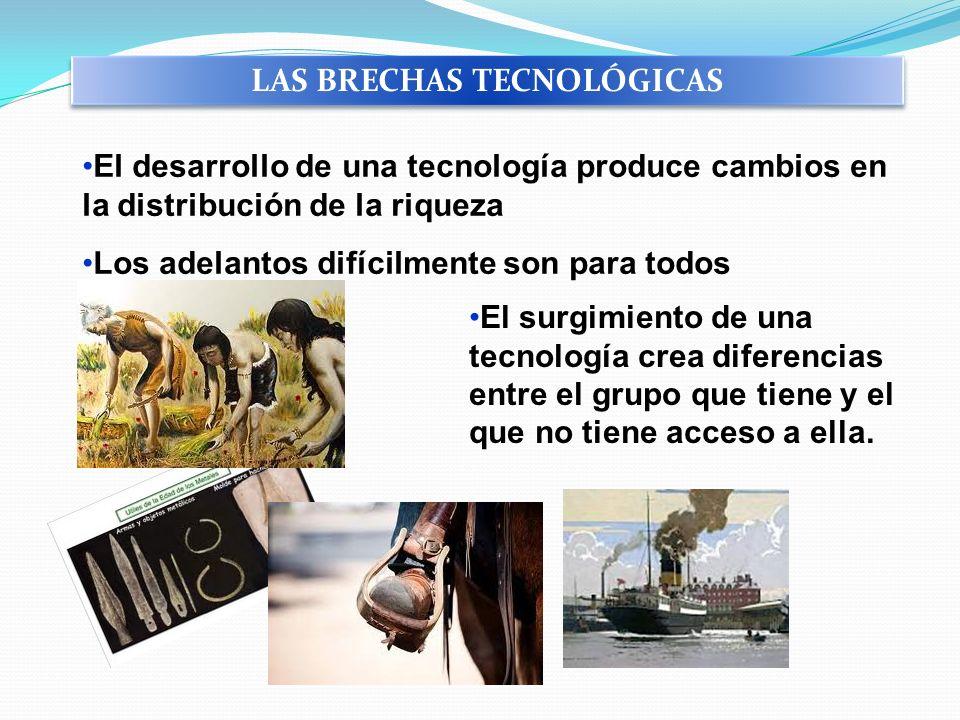 El desarrollo de una tecnología produce cambios en la distribución de la riqueza Los adelantos difícilmente son para todos El surgimiento de una tecno