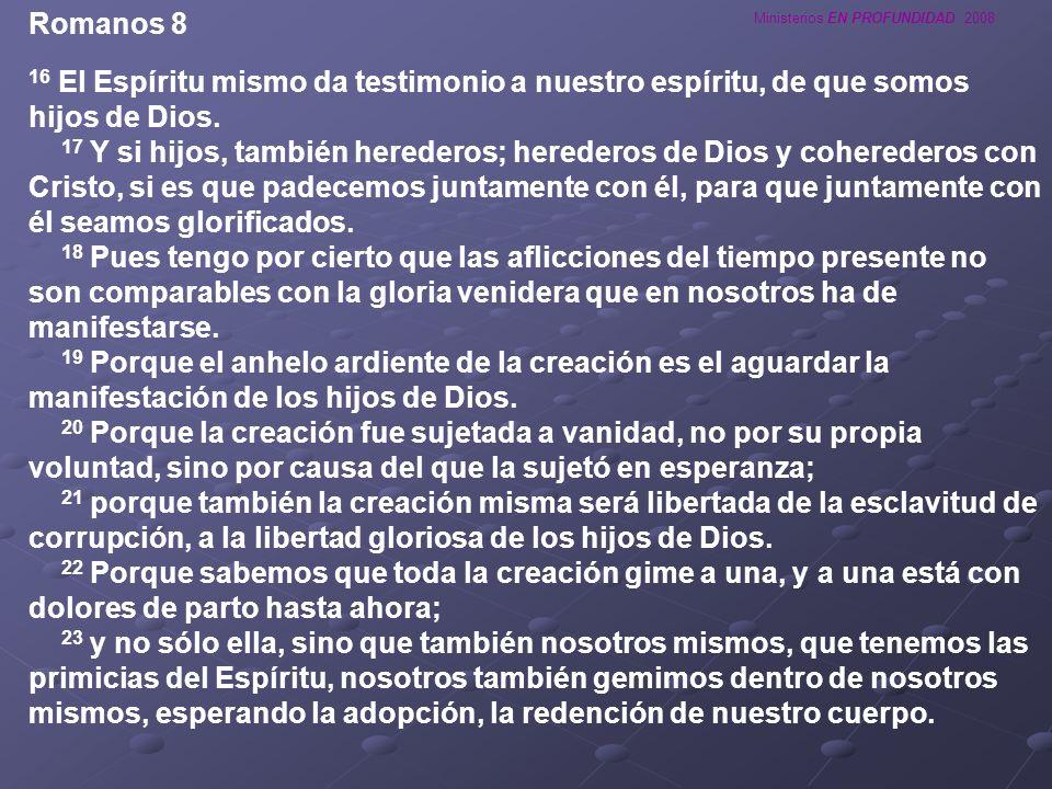 Ministerios EN PROFUNDIDAD 2008 Romanos 8 16 El Espíritu mismo da testimonio a nuestro espíritu, de que somos hijos de Dios. 17 Y si hijos, también he