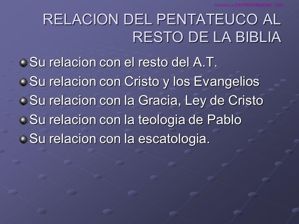 Ministerios EN PROFUNDIDAD 2008 RELACION DEL PENTATEUCO AL RESTO DE LA BIBLIA Su relacion con el resto del A.T. Su relacion con Cristo y los Evangelio