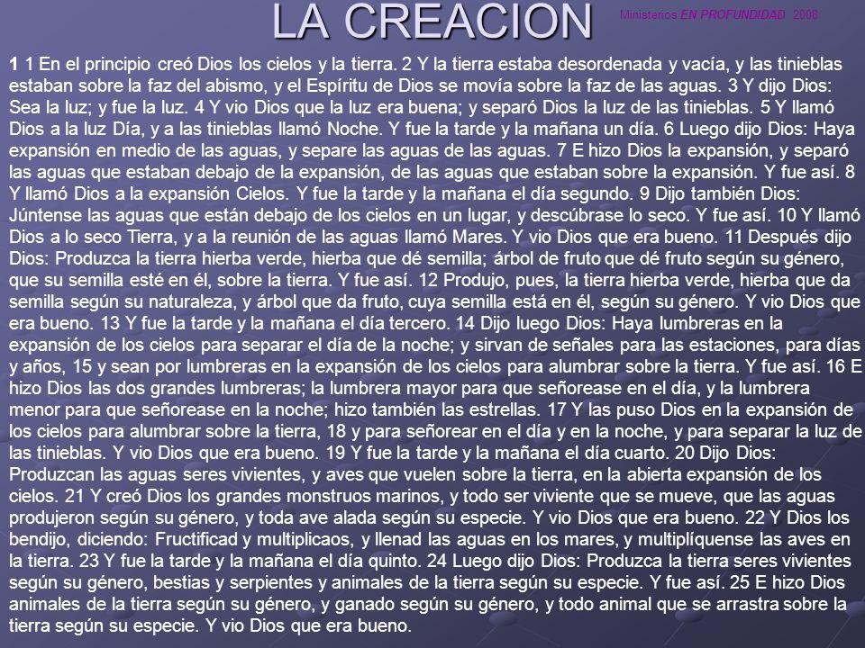 Ministerios EN PROFUNDIDAD 2008 LA CREACION 1 1 En el principio creó Dios los cielos y la tierra. 2 Y la tierra estaba desordenada y vacía, y las tini