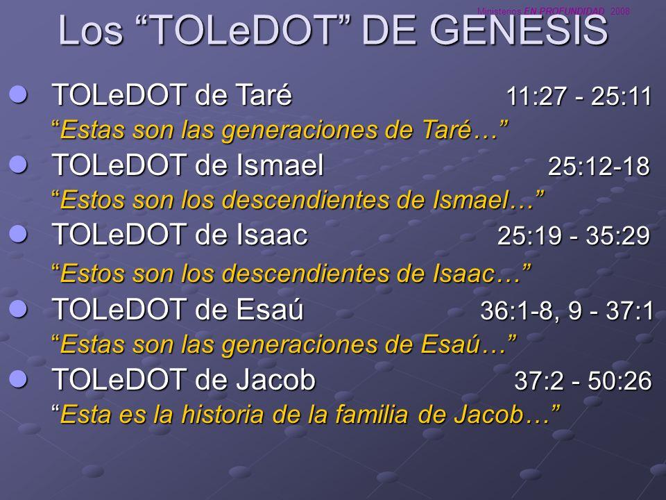 Ministerios EN PROFUNDIDAD 2008 Los TOLeDOT DE GENESIS TOLeDOT de Taré 11:27 - 25:11 TOLeDOT de Taré 11:27 - 25:11 Estas son las generaciones de Taré…