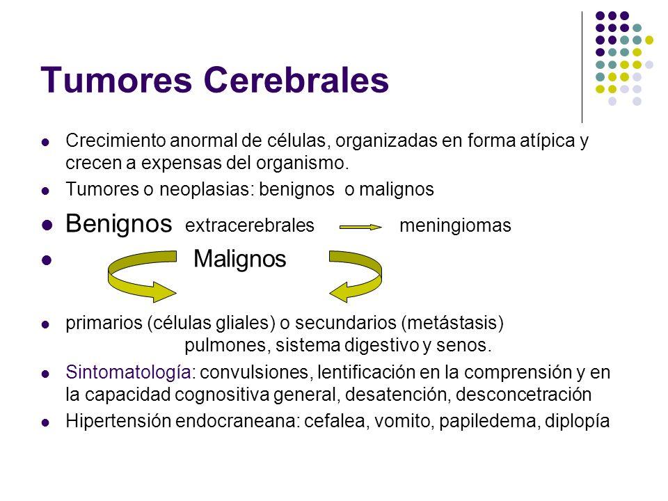 Tumores Cerebrales Crecimiento anormal de células, organizadas en forma atípica y crecen a expensas del organismo. Tumores o neoplasias: benignos o ma