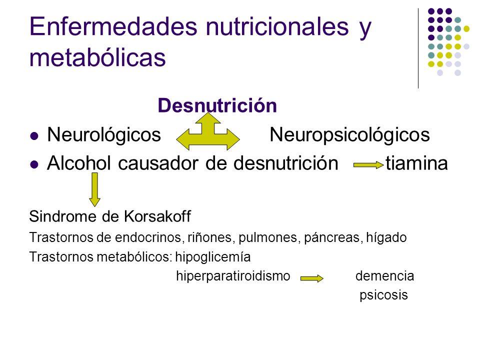 Enfermedades nutricionales y metabólicas Desnutrición Neurológicos Neuropsicológicos Alcohol causador de desnutrición tiamina Sindrome de Korsakoff Tr
