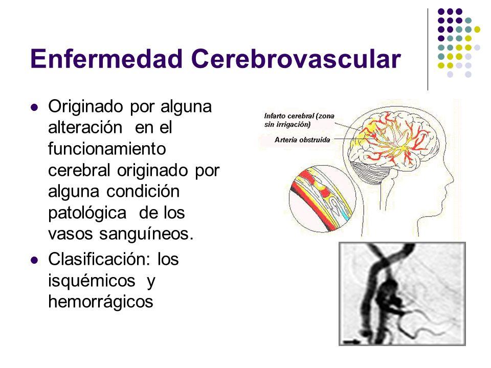 Enfermedad Cerebrovascular Originado por alguna alteración en el funcionamiento cerebral originado por alguna condición patológica de los vasos sanguí
