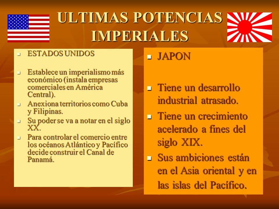 ULTIMAS POTENCIAS IMPERIALES ESTADOS UNIDOS ESTADOS UNIDOS Establece un imperialismo más económico (instala empresas comerciales en América Central).
