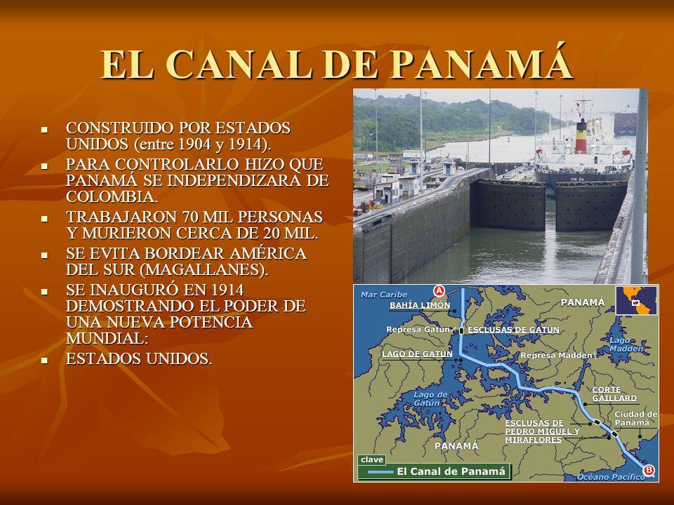 EL CANAL DE PANAMÁ CONSTRUIDO POR ESTADOS UNIDOS (entre 1904 y 1914). CONSTRUIDO POR ESTADOS UNIDOS (entre 1904 y 1914). PARA CONTROLARLO HIZO QUE PAN