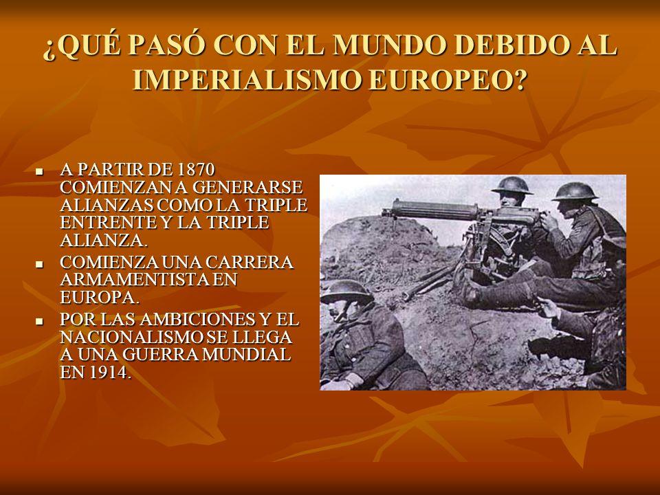 ¿QUÉ PASÓ CON EL MUNDO DEBIDO AL IMPERIALISMO EUROPEO? A PARTIR DE 1870 COMIENZAN A GENERARSE ALIANZAS COMO LA TRIPLE ENTRENTE Y LA TRIPLE ALIANZA. A
