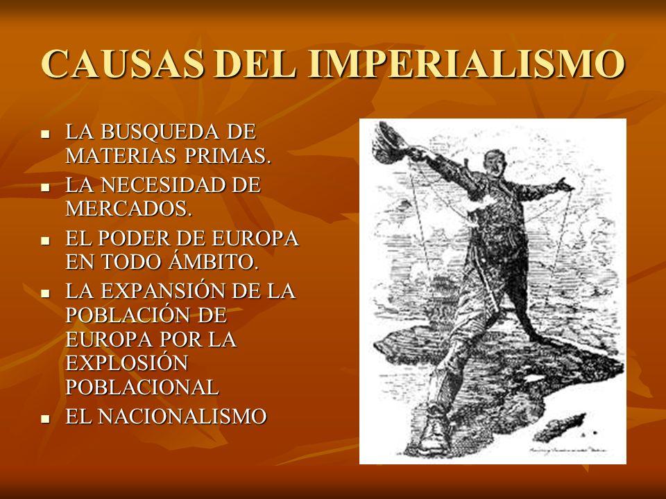 CAUSAS DEL IMPERIALISMO LA BUSQUEDA DE MATERIAS PRIMAS. LA BUSQUEDA DE MATERIAS PRIMAS. LA NECESIDAD DE MERCADOS. LA NECESIDAD DE MERCADOS. EL PODER D