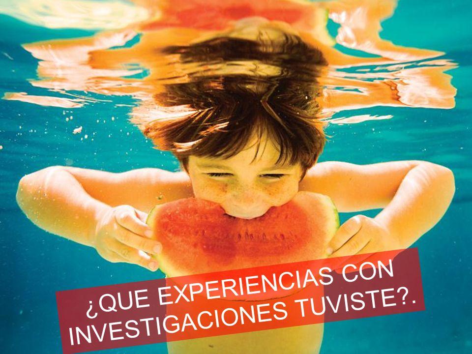 ¿QUE EXPERIENCIAS CON INVESTIGACIONES TUVISTE?.