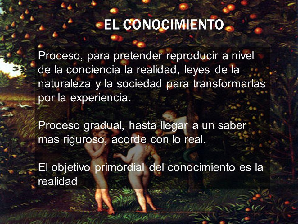 Proceso, para pretender reproducir a nivel de la conciencia la realidad, leyes de la naturaleza y la sociedad para transformarlas por la experiencia.