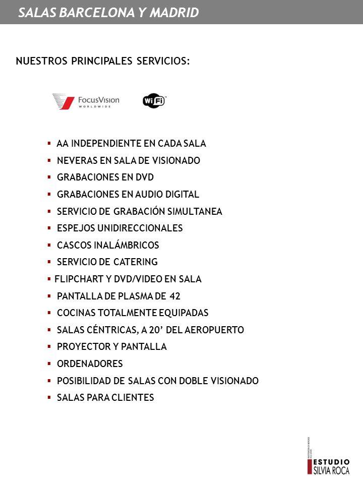 NUESTROS PRINCIPALES SERVICIOS: AA INDEPENDIENTE EN CADA SALA NEVERAS EN SALA DE VISIONADO GRABACIONES EN DVD GRABACIONES EN AUDIO DIGITAL SERVICIO DE