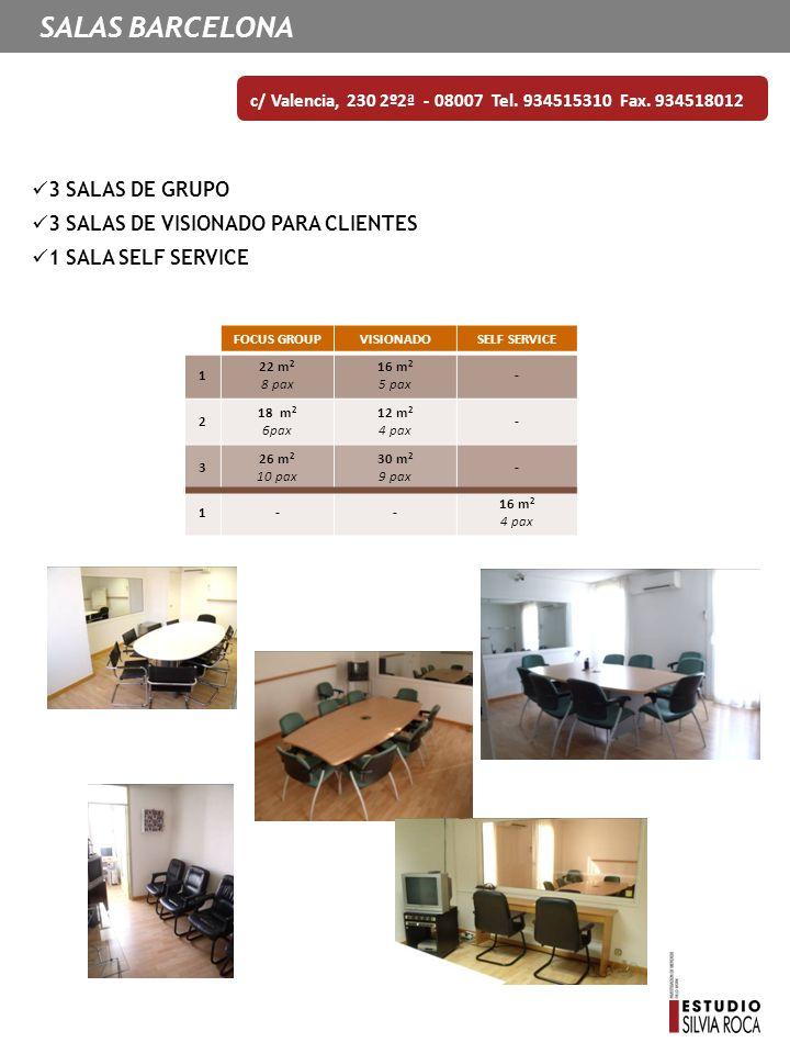 SALAS BARCELONA c/ Valencia, 230 2º2ª - 08007 Tel. 934515310 Fax. 934518012 3 SALAS DE GRUPO 3 SALAS DE VISIONADO PARA CLIENTES 1 SALA SELF SERVICE FO